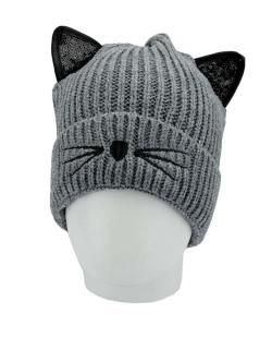 Gorro de tricô cinza de gatinho