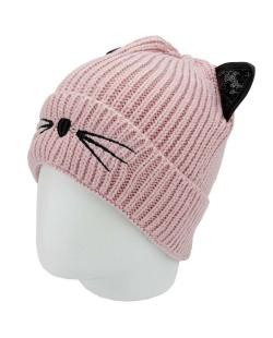 Gorro de tricô rosa claro de gatinho