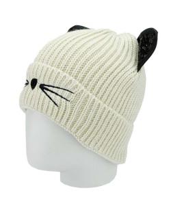Gorro de tricô bege de gatinho