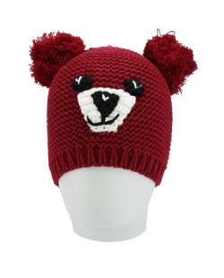 Gorro de tricô vermelho de ursinho