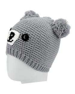 Gorro de tricô cinza de ursinho