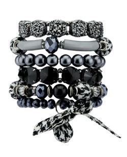 Kit de 6 pulseiras de acrílico cinza, azul e preto Koradi
