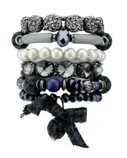 Kit de 6 pulseiras de acrílico azul fumê e pérola Koradi
