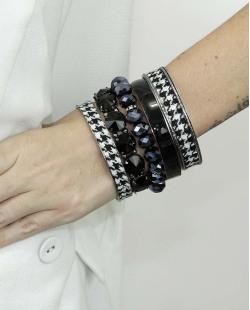 Kit de 5 pulseiras de metal e acrílico preta e azul Obuasi