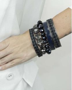 Kit de 5 pulseiras de metal e acrílico azul e fumê Obuasi