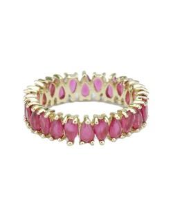 Anel de metal dourado com pedra rosa escuro Bolgatan