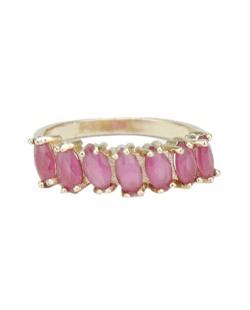Anel de metal dourado com pedra rosa Calamata