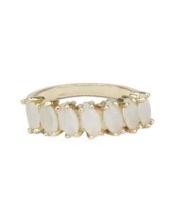 Anel de metal dourado com pedra bege Calamata
