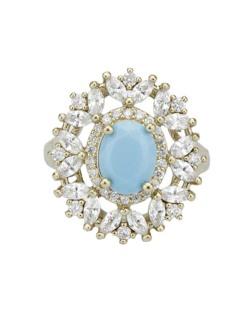 Anel de metal dourado com pedra cristal e azul Janina