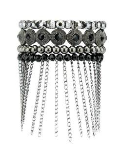 Kit de 4 pulseiras de metal grafite com pedra preta Mazatena