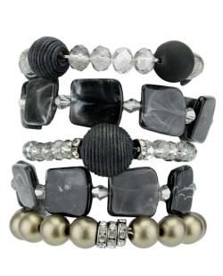 Kit de 5 pulseiras de acrílico preto e dourado Escuine