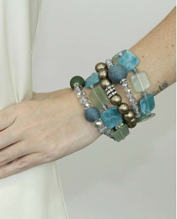 Kit de 5 pulseiras de acrílico turquesa e dourado Escuine