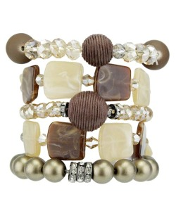 Kit de 5 pulseiras de acrílico marrom e dourado Escuine