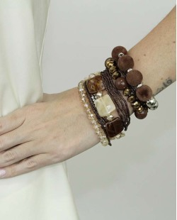 Kit de 7 pulseiras de acrílico prateada e marrom Amatila