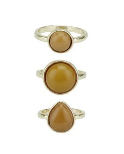 Kit de 3 anéis de metal dourado com pedra caramelo Quezal