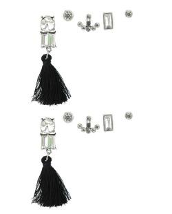Kit de 5 brincos pequenos prateados com tassel preto e pedra cristal Lampur