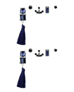 Kit de 5 brincos pequenos prateados com tassel e pedra azul escuro Lampur