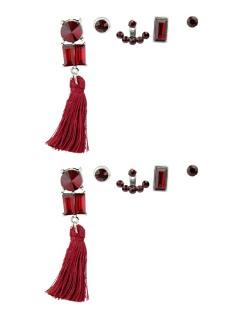 Kit de 5 brincos pequenos prateados com tassel e pedra vermelha Lampur