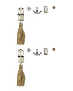 Kit de 5 brincos pequenos prateados com tassel marrom e pedra licor e cristal Lampur