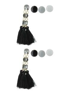 Kit de 4 brincos pequenos dourados com tassel e pedra preta Johoras