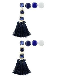 Kit de 4 brincos pequenos dourados com tassel e pedra azul Johoras
