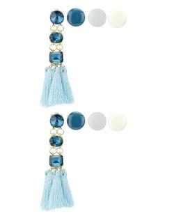 Kit de 4 brincos pequenos dourados com tassel e pedra azul claro Johoras