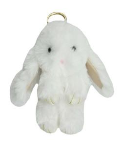 Chaveiro coelho de pelúcia branco Bunny