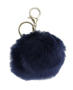 Chaveiro pompom de pelúcia azul escuro Yoboki