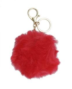 Chaveiro pompom de pelúcia vermelho Yoboki