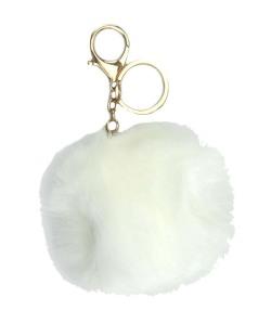 Chaveiro pompom de pelúcia branco Yoboki