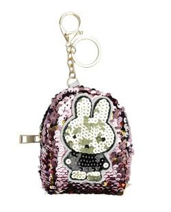 Chaveiro bolsinha de coelho com lantejoulas rosa claro Airolaf