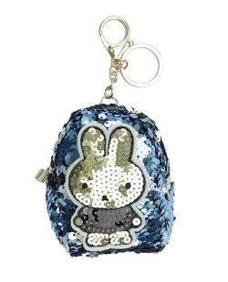 Chaveiro bolsinha de coelho com lantejoulas azul Airolaf
