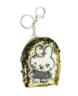 Chaveiro bolsinha de coelho com lantejoulas dourado Airolaf