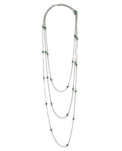 Colar de metal três voltas prateado com pedra verde Dawn