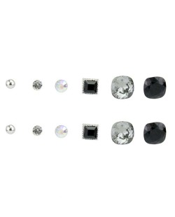 Kit com 6 pares de brincos pequenos prateados preto e fumê Walk