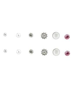 Kit com 6 pares de brincos pequenos prateados rosa Witcha