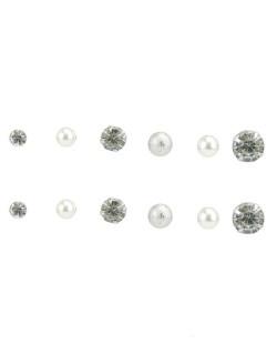 Kit com 6 pares de brincos pequenos prateados cristal Lulu