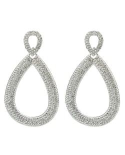 Maxi brinco de metal prateado com strass cristal Addicted