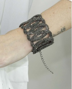Pulseira de metal grafite com strass fumê London