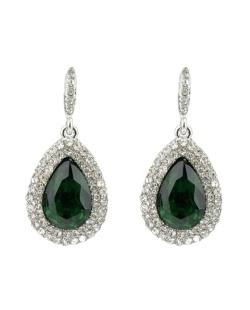 Brinco pequeno prateado com pedra verde e strass cristal Neville
