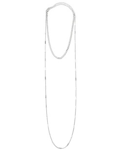 Colar de metal prateado Menegel