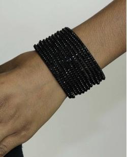 Pulseira de courino preta com strass preto Lady