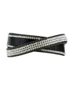 Pulseira de courino preta com strass cristal Albatroz