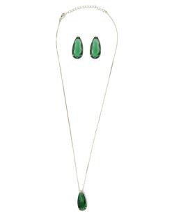 Kit brinco mais Colar de metal dourado com pedra verde Zanoni