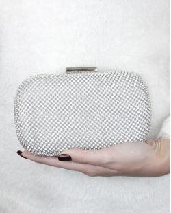 Bolsa de mão clutch prateada com strass cristal Glamours