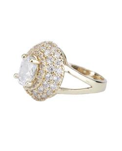Anel de metal dourado com pedra e strass cristal Dennis