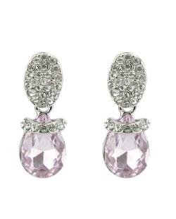 Brinco pequeno prateado com pedra rosa e strass cristal Delacour
