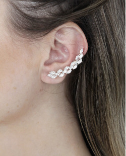 Ear cuff de metal prateado com strass cristal Purpose