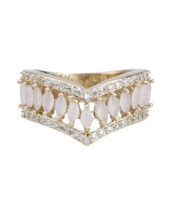 Anel de metal dourado com pedra rosa e strass cristal Fields