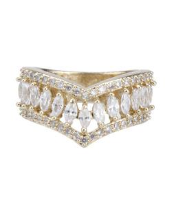 Anel de metal dourado com pedra e strass cristal Fields